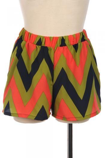 Chevron Print Shorts