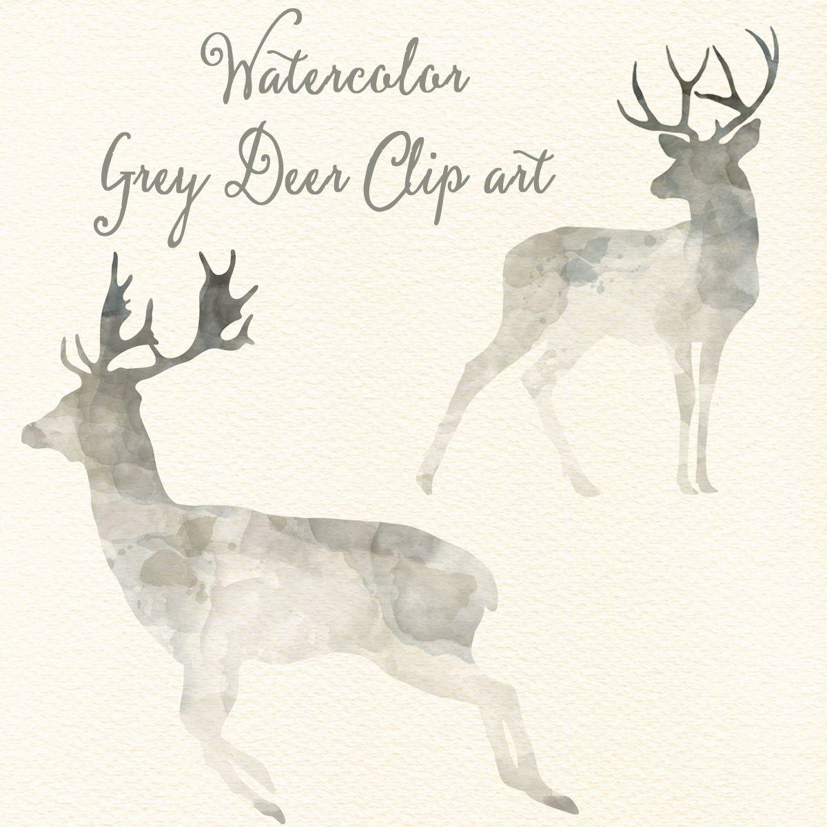350 Grey Deer Cliparts