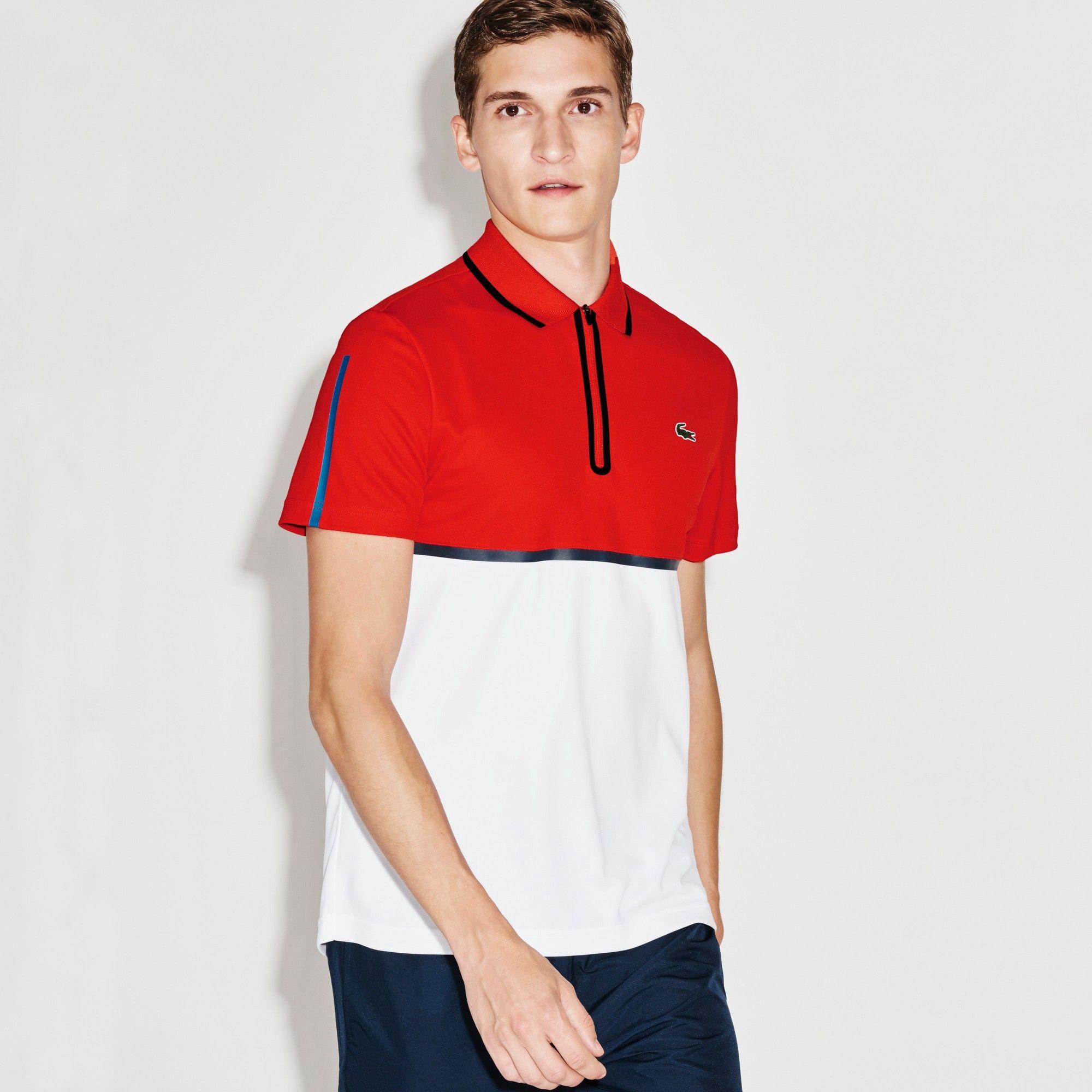 Lacoste Men S Sport Ultra Dry Zip Pique Knit Tennis Polo Shirt Etna Red White Navy Blue Modesens Lacoste Men Tennis Polo Polo Shirt