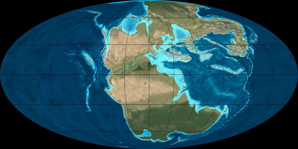 Mollewide oval globe plate tectonic map of the earth from the late triassic geologic period from may first period of mesozoic era between permian and jurassic periods both start and end marked by major extinction events gumiabroncs Images