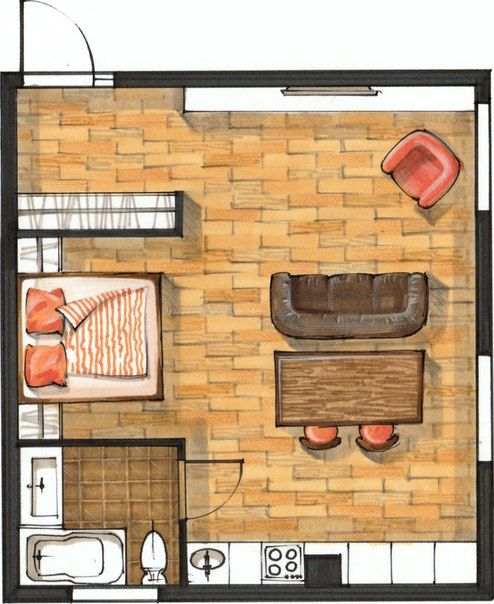 Kitchen Design Drawing With Color: Sketch-plan With Markers And Colored Pencils. Interior Drawing, Sketching, Hand Rendering, Floor