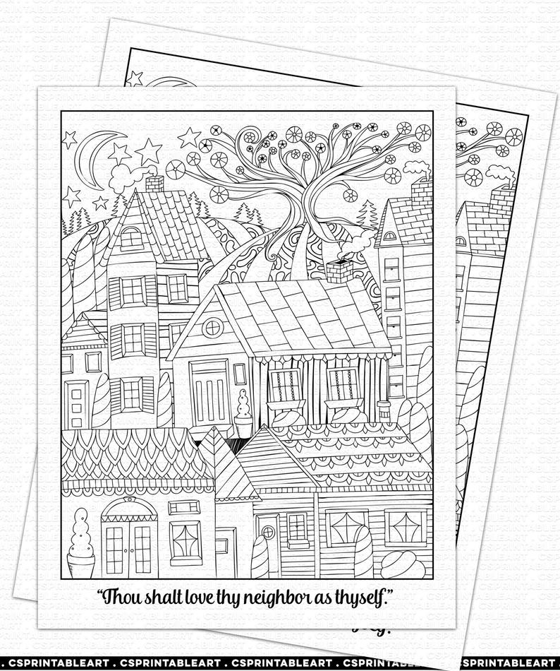 Love They Neighbor Quote Coloring Page Printable, Sunday