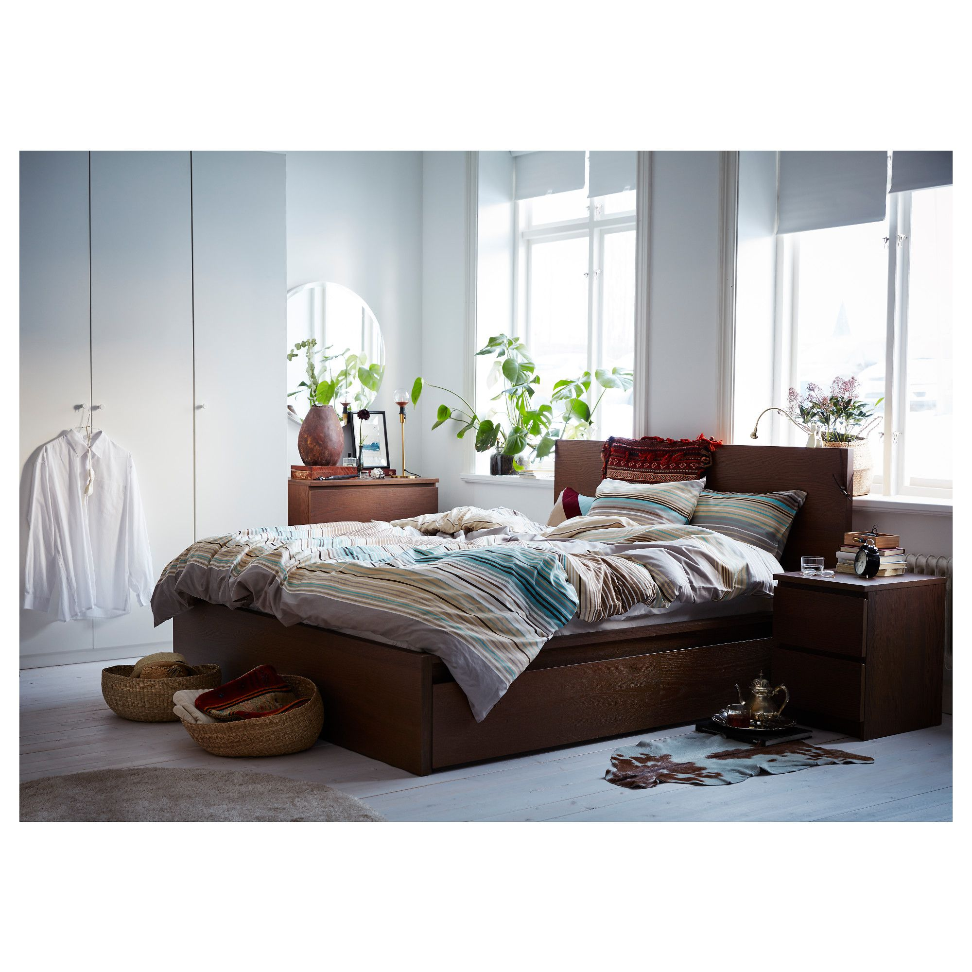 Malm High Bed Frame 4 Storage Boxes Brown Stained Ash Veneer