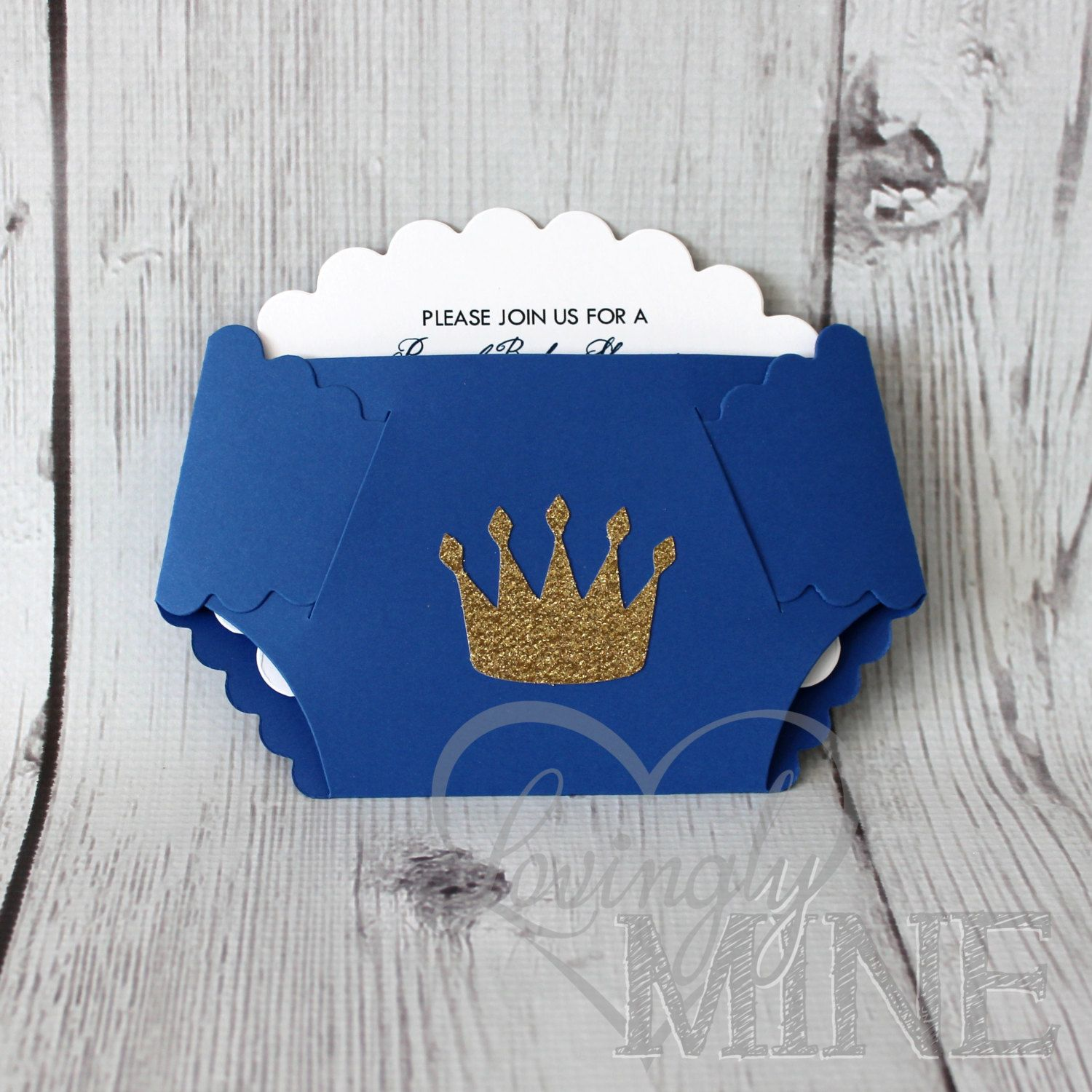 Little Prince Diaper Invitations In Royal Blue And Glitter
