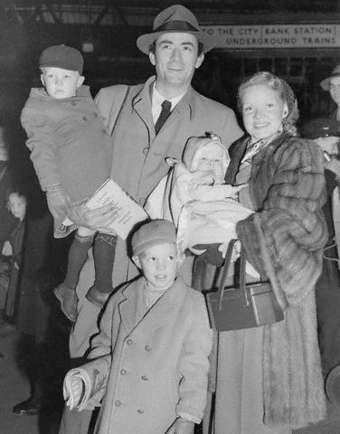 Gregory Peck with wife Greta Kukkonen, and their children Jonathan, Stephen and Carey