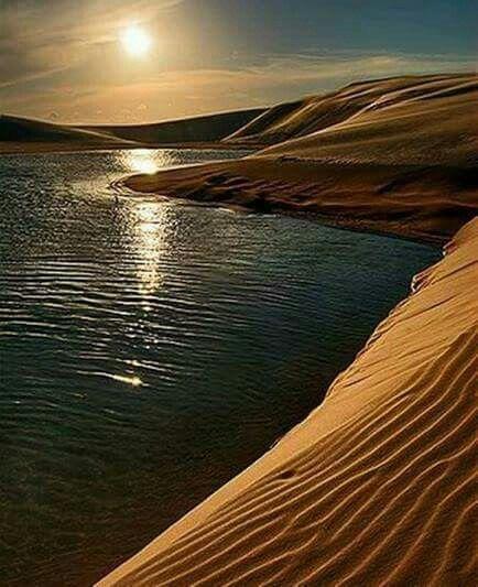 Dunes and lakes at sunset. Santa Catarina, Brazil