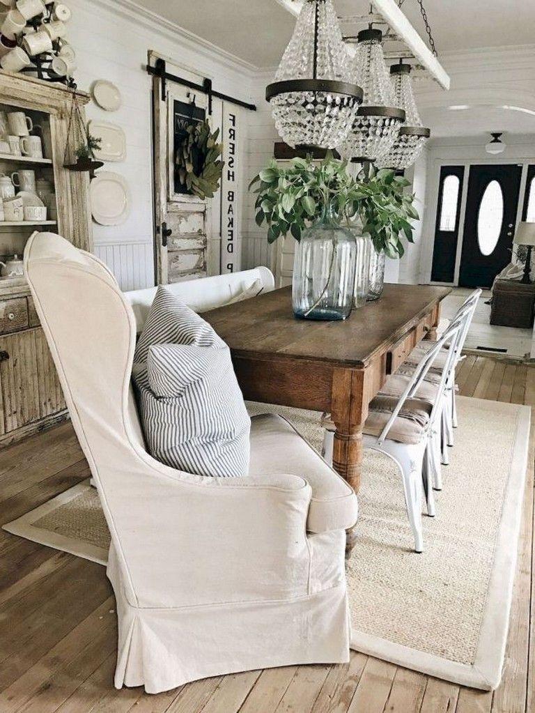 49+ Amazing Farmhouse Dining Room Table Decoration Ideas Dining