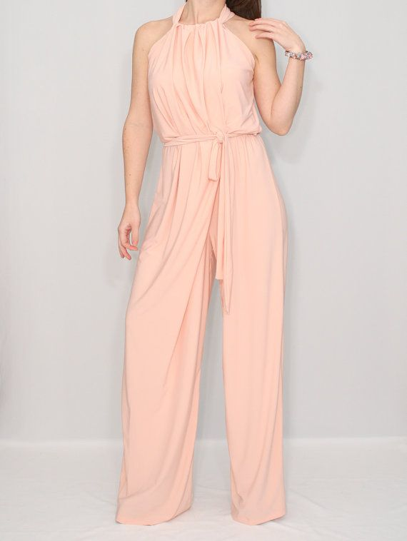 d1f93f30d531 Peach Jumpsuit Wide leg jumpsuit Alternative Wedding by KSclothing