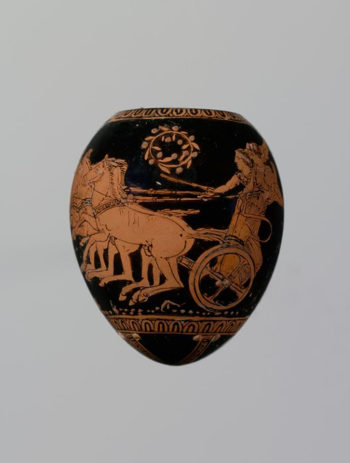 Terracotta oon (egg) with a youth abducting a woman. Attributed to the Washing Painter Period: Classical. Date: ca. 420–410 B.C. Culture: Greek, Attic. | The Metropolitan Museum of Art
