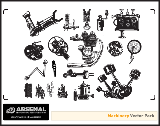 Steampunk Series: Machinery Vector Pack (Freebie Inside) | GoMediaZineGoMediaZine