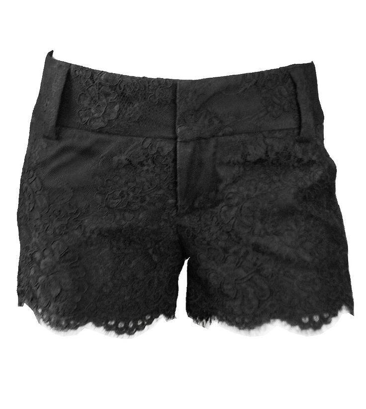 Floral lace detail mini black short