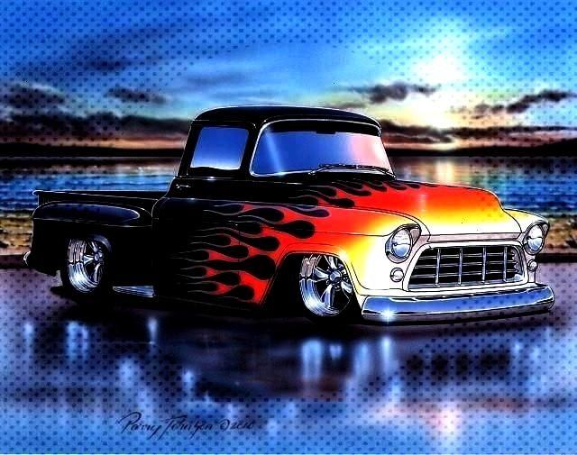 Chevy 3100 Stepside Pickup Hot Rod Truck Art Print 11x14 Poster -1955 56 Chevy 3100 Stepside Pickup