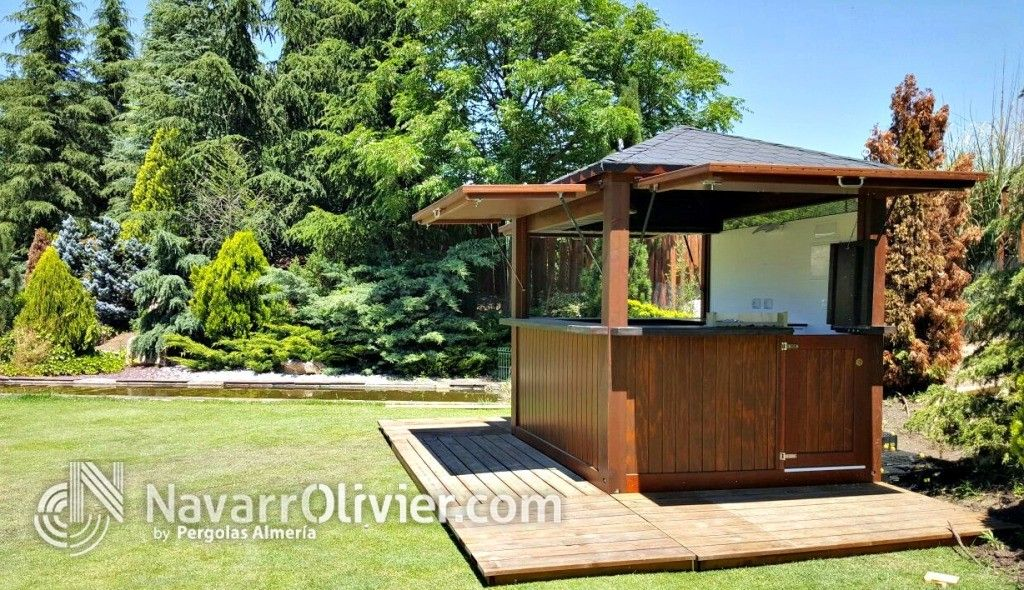 Kiosco de madera de 5 m2 con instalaci n el ctrica para for Kiosco bar prefabricado