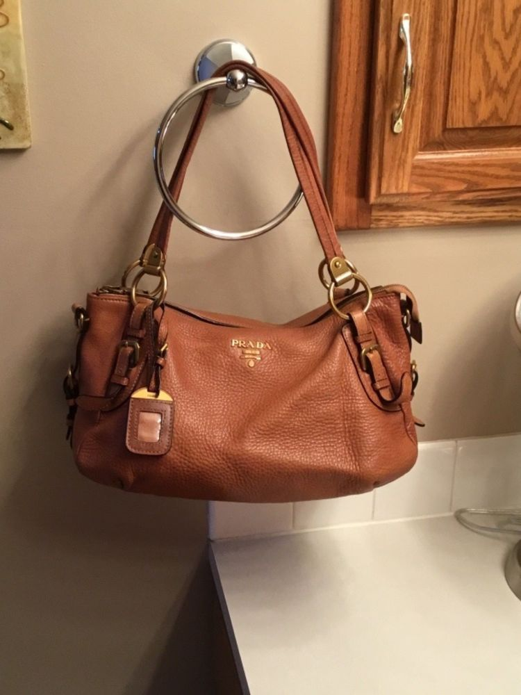 3349f86bcfbc Prada Milano Brown Leather purse with long detachable removable strap