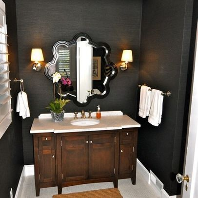 powder room - black walls - love everything about this!