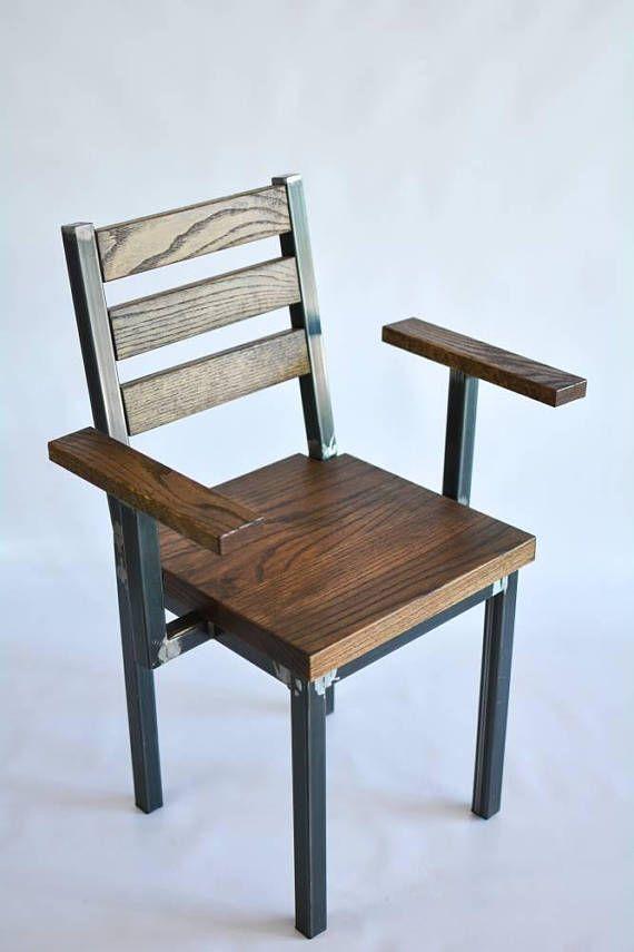Madera y acero mesa de comedor y sillas rústico Industrial | Стулья ...