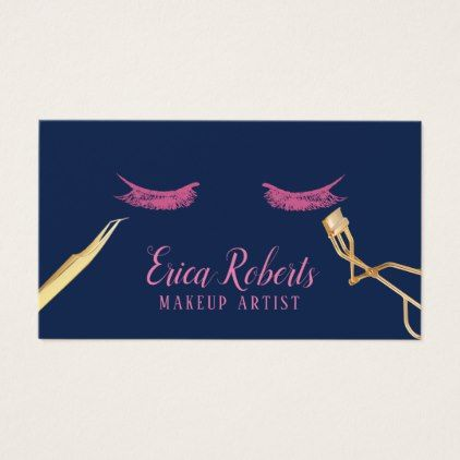 Lashes makeup artist elegant pink navy blue business card colourmoves