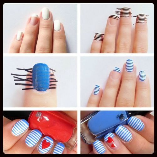 Do it yourself nail designs with scotch tape nail designs how to do diy sailor stripes nail art manicure step by step tutorial instructions solutioingenieria Gallery