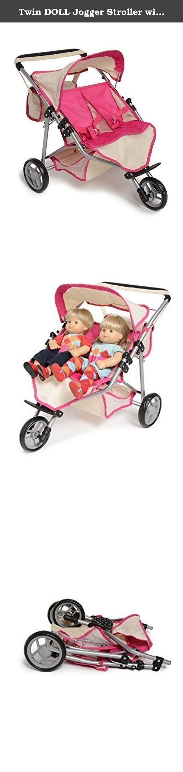 Twin DOLL Jogger Stroller with Diaper Bag, Off white/Pink