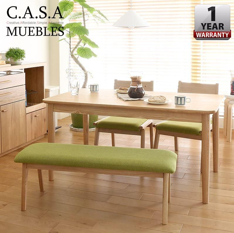 Casa Muebles 120 X 70 X 75 Cm Alma Japanese Style Solid Rubber Wood Dining Table With Chairs And Bench Set Dining Chairs Buy Dining Dining Chairs