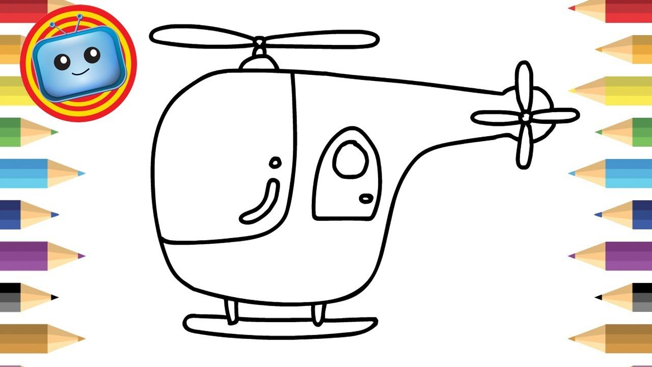 How to draw a Helicopter | Colouring book | Simple drawing game ...
