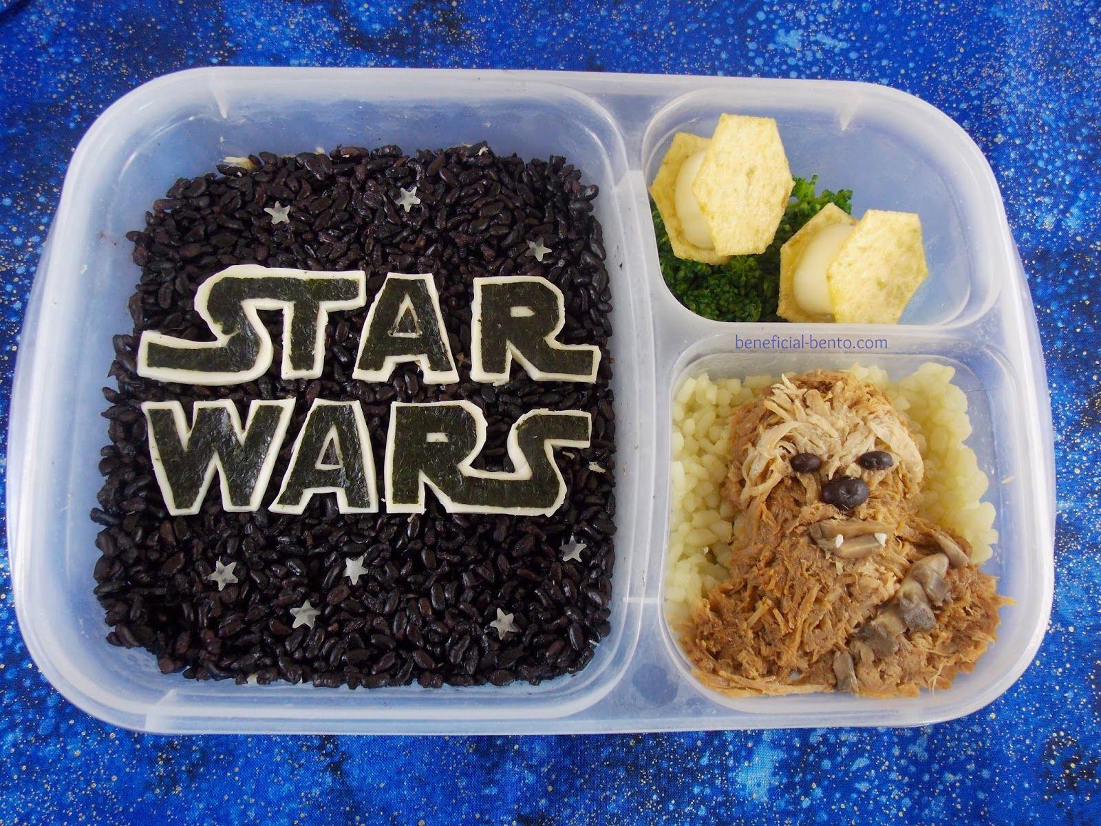 Star Wars bento - Chewbacca, made of kalua pork, and forbidden rice sky!