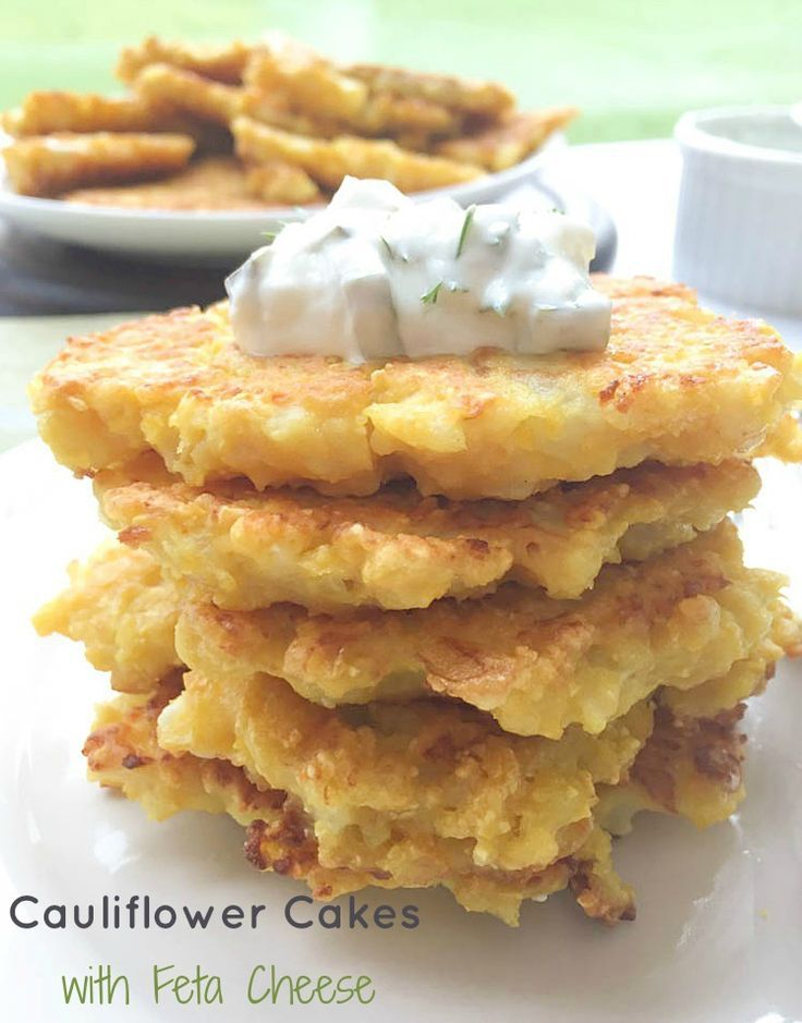 Cauliflower Cakes With Feta And Dill Pickle Sauce images