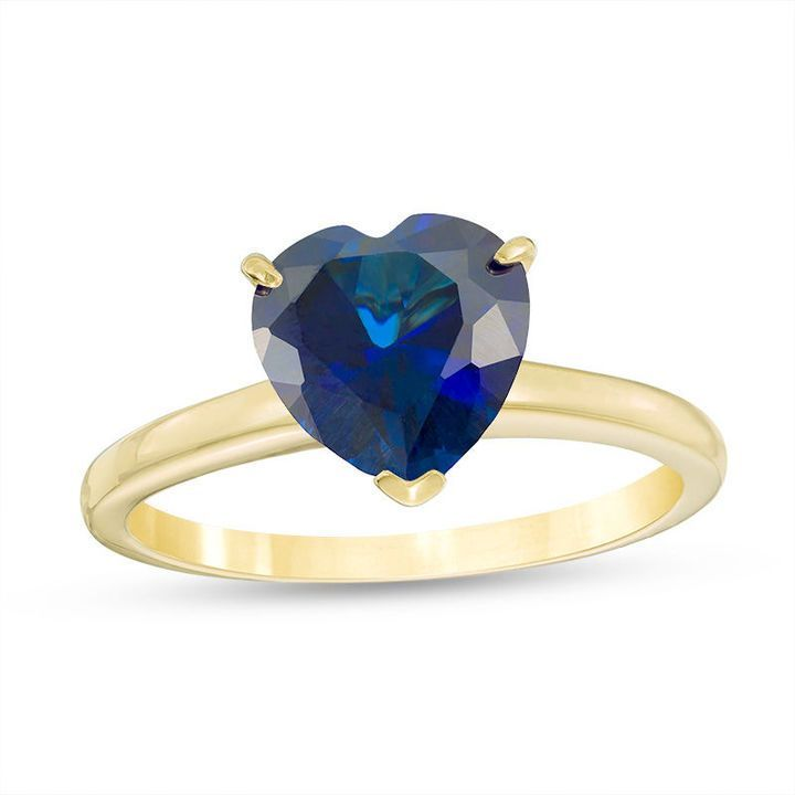 Zales 8.0mm Heart-Shaped Lab-Created Blue Sapphire Solitaire Ring in 10K Gold 14MWVRP