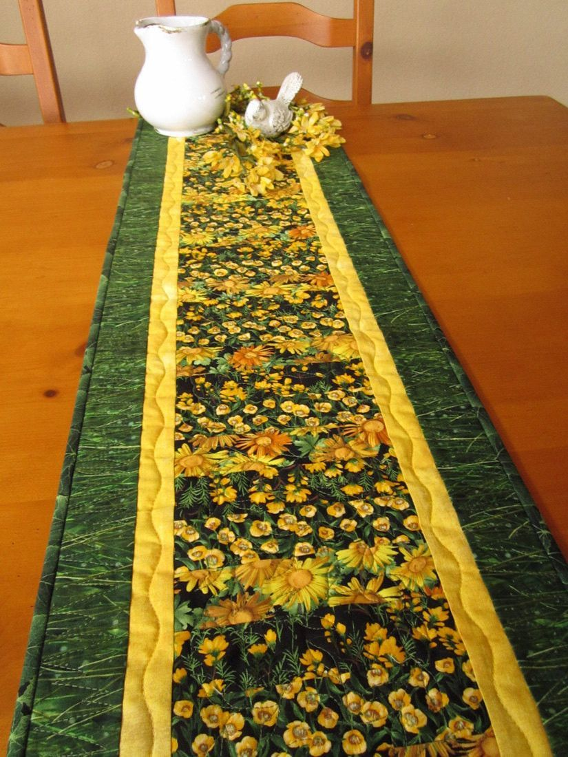 Quilted Table Runner Handmade Table Linen Home Decor Yellow Flowers Table Decor