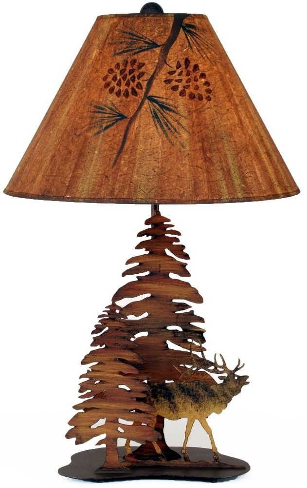 Bugling elk pine trees metal table lamp rustic cabin lodge decor lighting american made usa coast