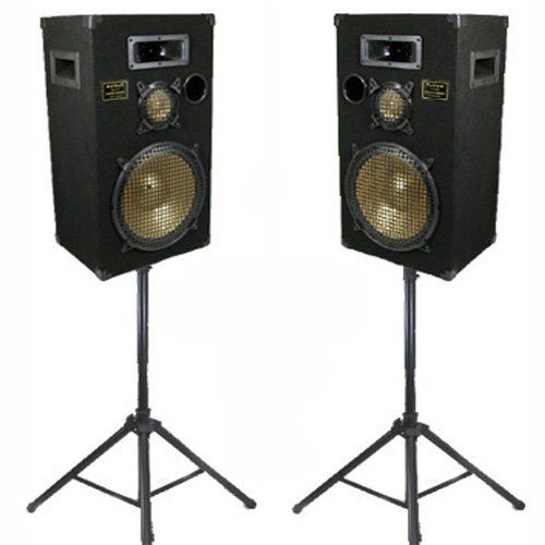"""New 12"""" Speakers 3 Way Pro Audio Monitor Pair and Stands DJ Set for PA Home or Karaoke PPB12SET1 by Podium Pro Audio. $259.99. SpecificationsDJ PA PPB12 SetBrand New Pair of PPB12 Ported 12"""" 3-Way CabinetsSpeakers can receive 600 Watts RMS per pair & 1200 Watts Max per pair at 8ohmSensitivity is 93dB with 28-30,000 Hz Frequency ResponseEach PPB12 Speaker is Height 27"""" x Width 15"""" x Depth 11.75""""36 Pounds per SpeakerNew Adjustable Speaker StandsAdjustable Height from 44 in..."""