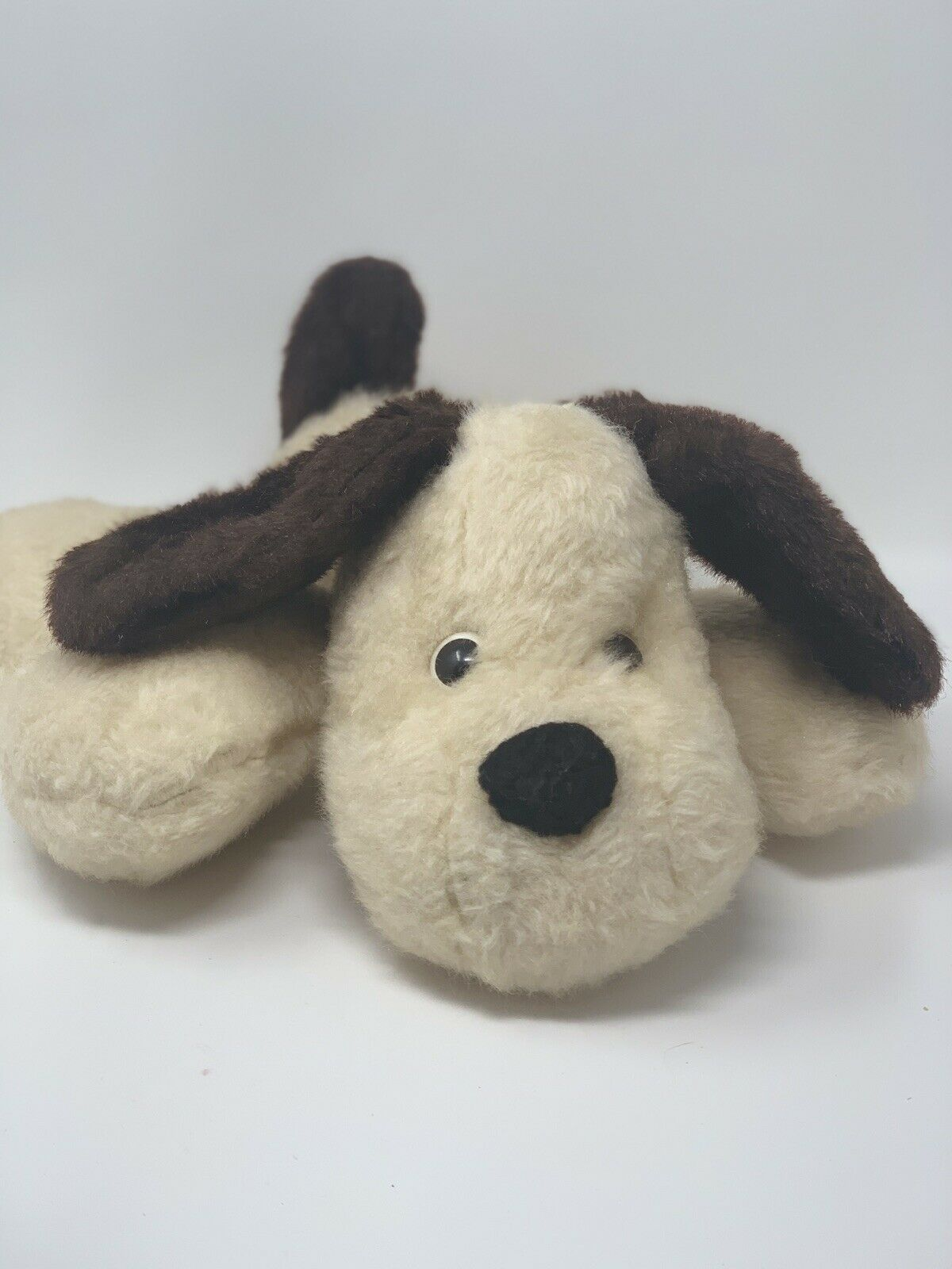 "Vintage Plush Tan Puppy Dog Brown Ears 14"" Long Floppy"