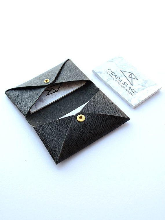 leather name card holder black leather business card case retro black monogram cardholder namecard wallet namecard case crafts in 2018 pinterest - Monogram Card Holder