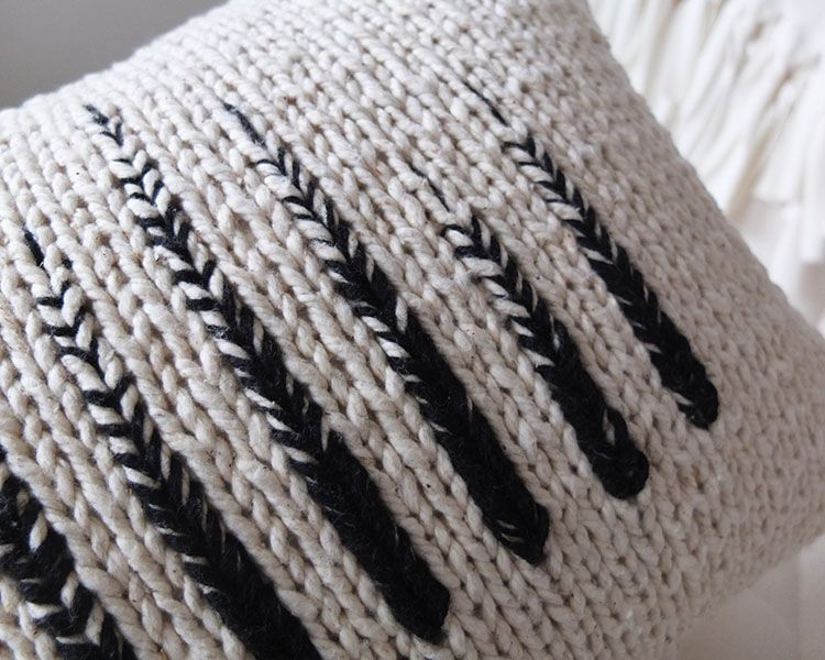 Monochrome Knit Pillow - Tracing Threads
