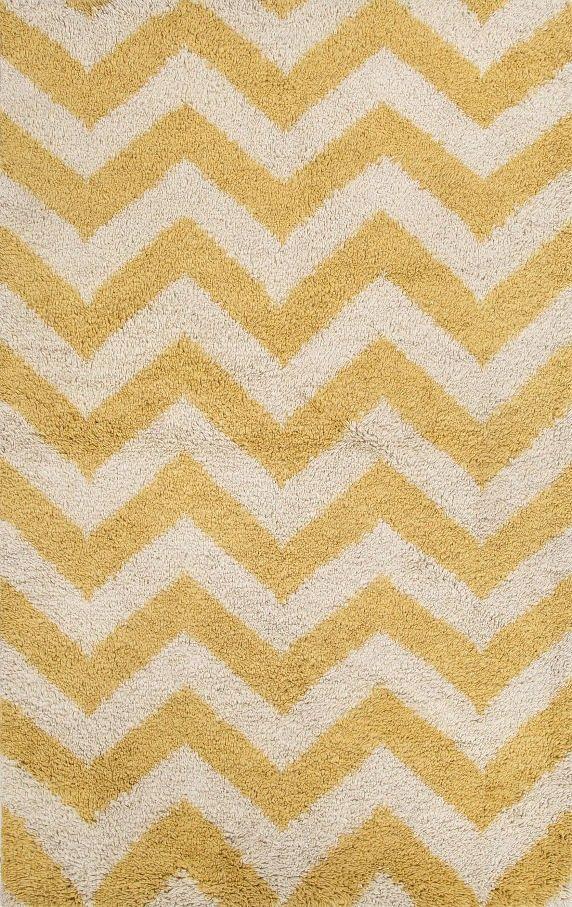 Jaipur HEN03 Handmade Textured Wool Yellow/Ivory Shag ( 2X3 ...