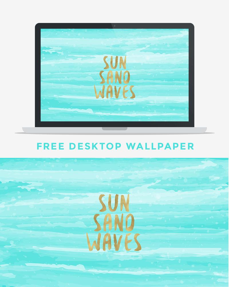Sun Sand Waves Free Desktop Wallpaper