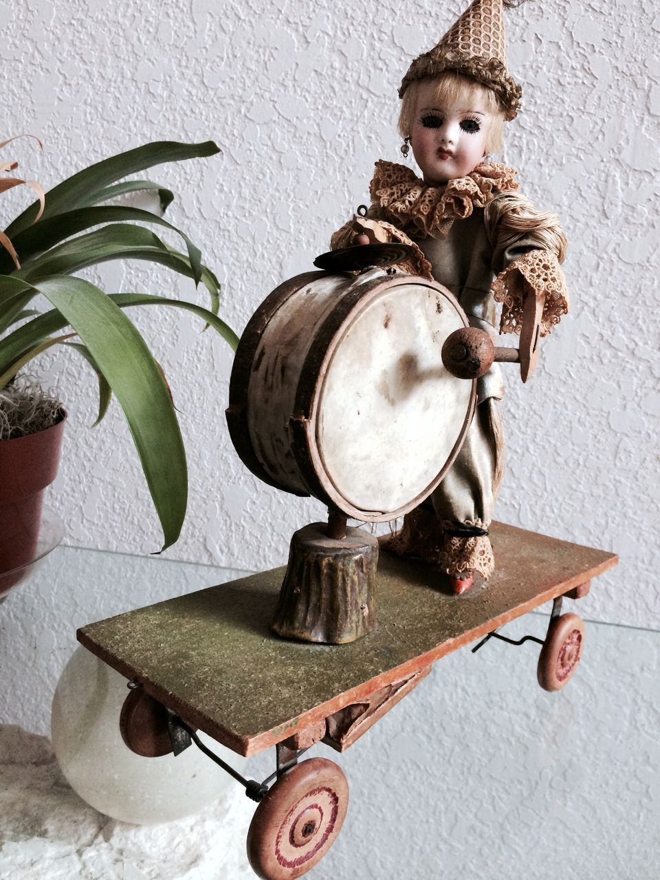 Rare French Mechanical Bisque Head Pull Toy Drummer Head Marked France
