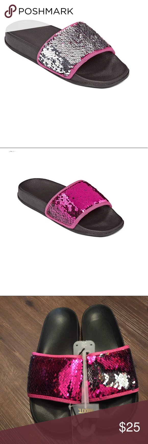 5aabf37fa Mixit Pink Silver Mermaid Slide Sandals-9 NWT Mixit mermaid two-tone bling  slides. These slides can either be pink or you can turn them silver bling.