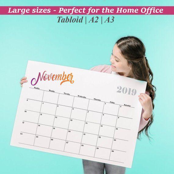 Large wall calendar 2019 Printable calendar 2019 Wall Calendar 2019