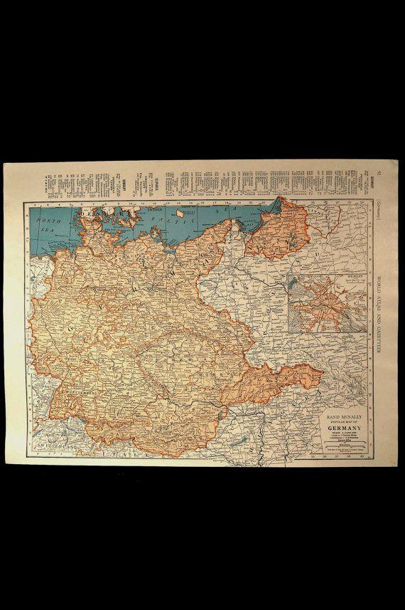 Vintage Map Germany 1940s Original 1945 Wall Decor | Cartes du monde ...