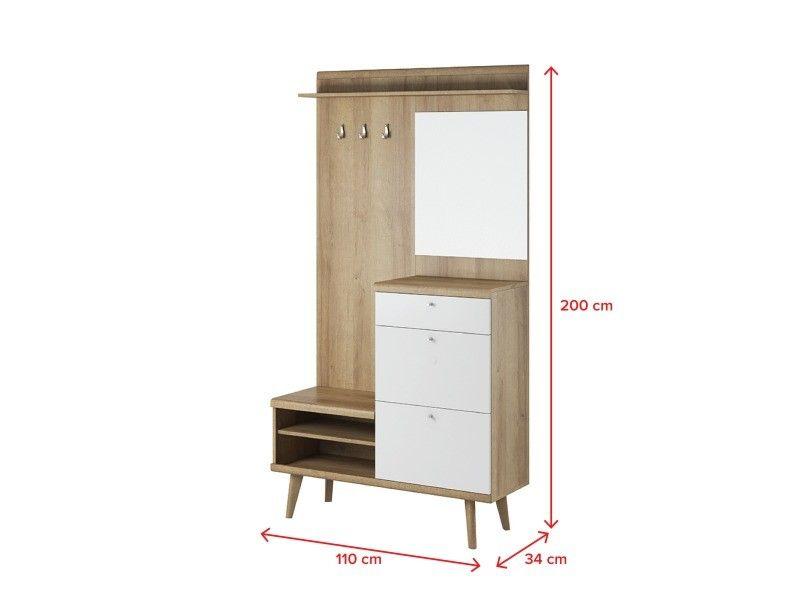 Meuble D Entree Pristeg 110 Cm Blanc Mat Chene Riviera Miroir Vente De Vestiaire Conforama Meuble Entree Rangement Mobilier De Salon