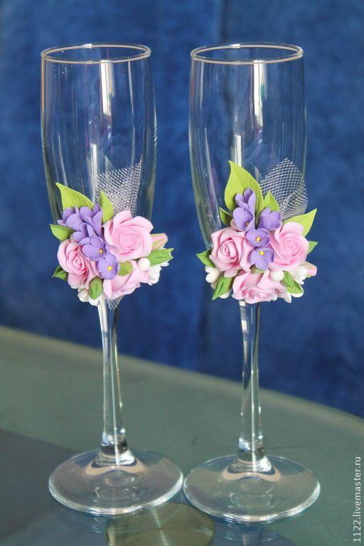Свадебные бокалы роза своими руками