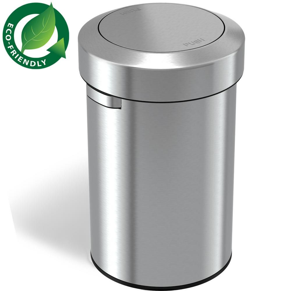 Itouchless 17 Gal Stainless Steel Swing Top Trash Can It17fts The Home Depot In 2021 Trash Can Kitchen Trash Cans Garbage Can Stainless steel swing top trash can