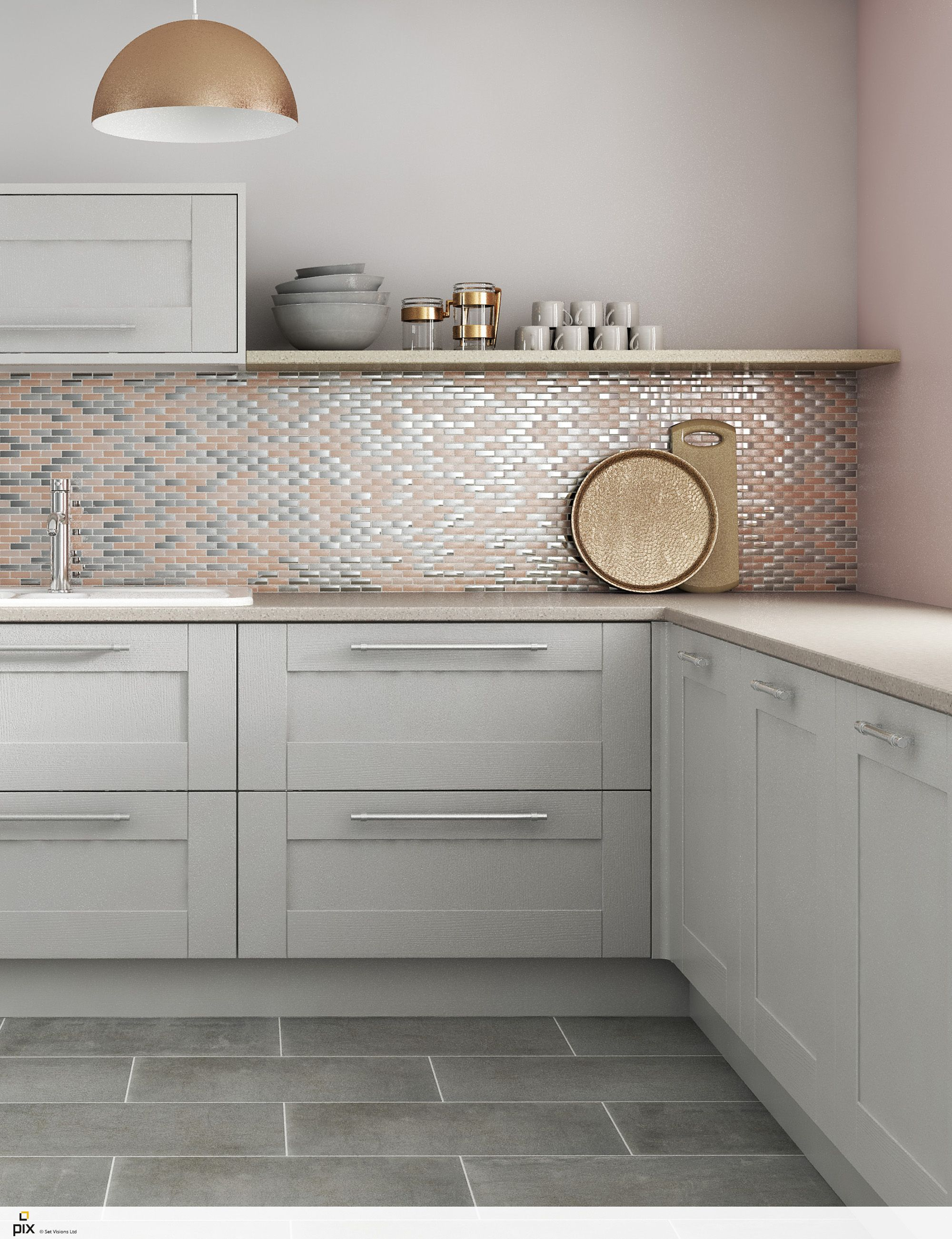 This On Trend Blush Copper And Metallic Mosaic Tile Shot