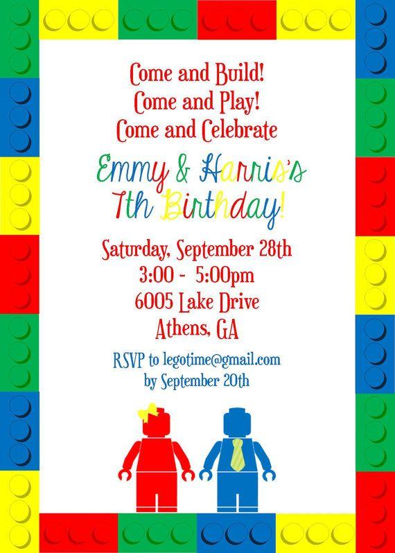 LEGO Birthday Invitation For Twins By SevenStoryMountain On Etsy