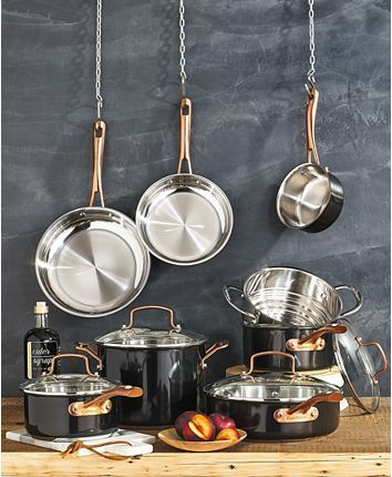 Cuisinart Onyx Black & Rose Gold 12-Pc Stainless Steel Cookware Set, Created for Macy's & Reviews - Cookware - Kitchen - Macy's
