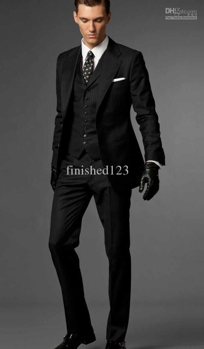Slim Fit Two Buttons Black stripes Groom Tuxedos Notch Lapel Best ...