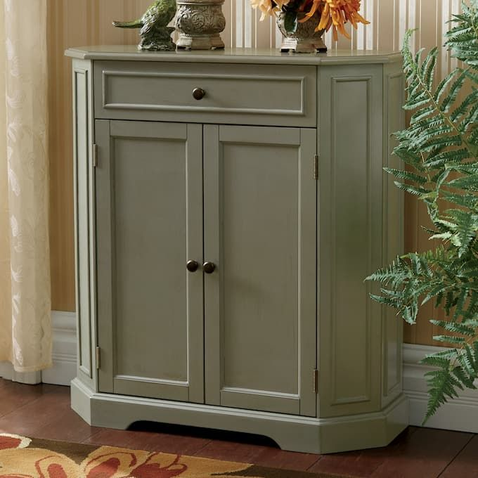 Sage Green Cabinet Is Gently Aged For A Beautiful