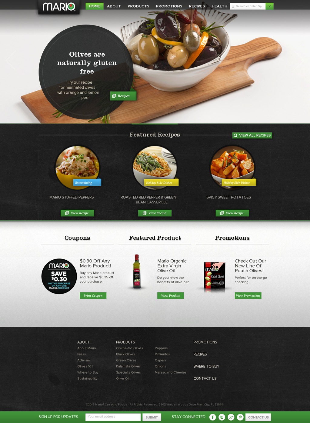 Mario Olives Specialty Foods Food Website Design Food Website Food Web Design