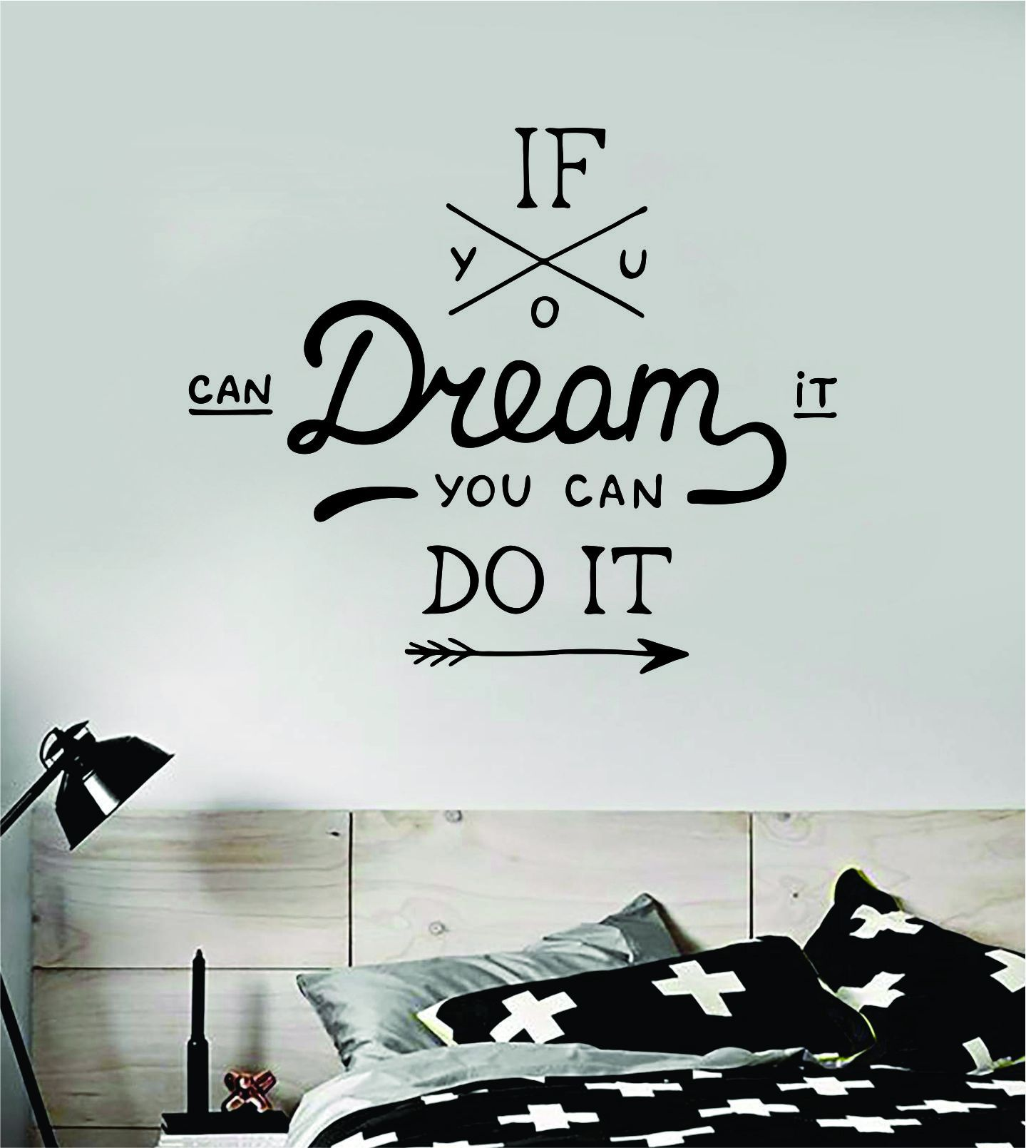 If You Can Dream It Quote Wall Decal Sticker Bedroom Room Art Vinyl Inspirational Motivational Kids Teen Baby Nursery Playroom School Gym Fitness - orange